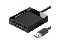 Cititor Card USB UGREEN CR125 30333, USB 3.0 SD / micro SD / CF / MS, Negru, Blister