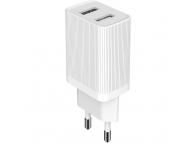 Incarcator Retea USB Dudao, 2 X USB, 2.4A, Alb, Bulk