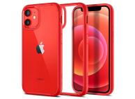 Husa Plastic - TPU Spigen ULTRA HYBRID pentru Apple iPhone 12 mini, Rosie ACS01747