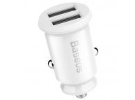 Incarcator Auto USB Baseus Grain, 2 X USB, 3.1A, Alb CCALL-ML02