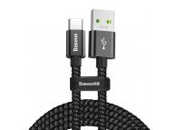 Cablu Date si Incarcare USB la USB Type-C Baseus, Double Fast, 1 m, 5A, Negru, Blister CATKC-A01