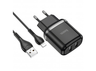 Incarcator Retea cu cablu Lightning HOCO N4, 2 X USB, 12W, 2.4A, Negru, Blister