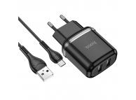 Incarcator Retea cu cablu MicroUSB HOCO N4, 2 X USB, 2.4A, Negru