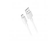 Cablu Date si Incarcare USB la MicroUSB XO Design NB156, 1 m, 2.4A, Alb