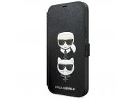 Husa Plastic - TPU Karl Lagerfeld Saffiano K&C Heads Book pentru Apple iPhone 12 / Apple iPhone 12 Pro, Neagra, Blister KLFLBKP12MSAKICKCBK