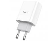 Incarcator Retea USB HOCO C80A, 1 X USB - 1 X USB Tip-C, 20W, Quick Charge - Power Delivery, Alb