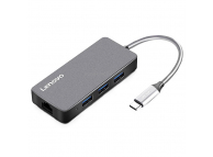 Hub USB Lenovo HUB-C506, 4 x USB, Port Alimentare Type-C, Gri, Blister