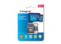 Card Memorie MicroSDHC Integral, 64Gb, Clasa 10, UHS-I U1, cu adaptor, Blister INMSDX64G10-90SPTAB