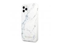 Husa Plastic - TPU Guess Marble Design pentru Apple iPhone 11 Pro Max, Alba, Blister GUHCN65PCUMAWH