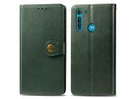 Husa Piele Enkay Wallet pentru Motorola Moto G8, Verde, Blister