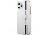 Husa TPU U.S. Polo Tricolor Vertical Stripes pentru Apple iPhone 12 Pro Max, Alba, Blister USHCP12LPCUSSWH