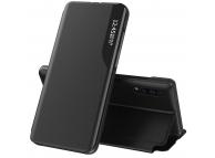 Husa Piele OEM Eco Leather View pentru Apple iPhone 12 mini, cu suport, Neagra