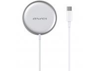 Incarcator Retea Wireless Awei W10, MagSafe, Qi 15W, Alb, Blister