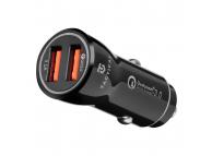 Incarcator Auto USB Tactical YSL-399, 2 x USB, QC 3.0, 3.1A, Negru, Blister