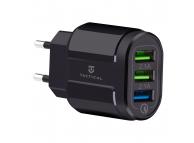 Incarcator Retea USB Tactical 13-222, 3 x USB, QC3.0, 3A, Negru, Blister