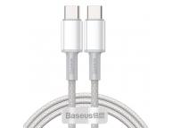Cablu Date si Incarcare USB Type-C la USB Type-C Baseus, 2 m, 100 W, 5 A, Alb, Blister CATGD-A02