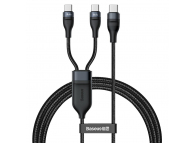 Cablu Date si Incarcare USB Type-C la USB Type-C Baseus 2 in 1, 1.5 m, 100W, Negru, Blister CA1T2-C01