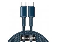 Cablu Date si Incarcare USB Type-C la USB Type-C Baseus, 2 m, 100W, 5A, Albastru, Blister CATGD-A03
