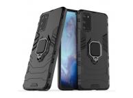 Husa Plastic - TPU OEM Ring Tough Armor Kickstand pentru Samsung Galaxy S20 Plus G985, Neagra, Bulk
