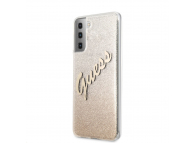 Husa Plastic - TPU Guess Vintage pentru Samsung Galaxy S21+ 5G, Aurie, Blister GUHCS21MPCUGLSGO