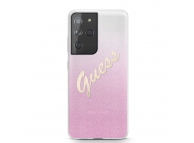 Husa Plastic - TPU Guess Vintage pentru Samsung Galaxy S21 Ultra 5G, Roz, Blister GUHCS21LPCUGLSPI