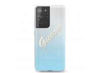 Husa Plastic - TPU Guess Vintage pentru Samsung Galaxy S21 Ultra 5G, Albastra, Blister GUHCS21LPCUGLSBL