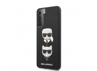 Husa Plastic - TPU Karl Lagerfeld Saffiano K&C Heads pentru Samsung Galaxy S21+ 5G, Neagra, Blister KLHCS21MSAKICKCBK