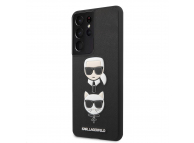 Husa Plastic - TPU Karl Lagerfeld Saffiano K&C Heads pentru Samsung Galaxy S21 Ultra 5G, Neagra, Blister KLHCS21LSAKICKCBK