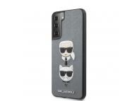 Husa Plastic - TPU Karl Lagerfeld Saffiano K&C Heads pentru Samsung Galaxy S21+ 5G, Argintie, Blister KLHCS21MSAKICKCSL