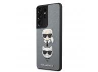Husa Plastic - TPU Karl Lagerfeld Saffiano K&C Heads pentru Samsung Galaxy S21 Ultra 5G, Argintie, Blister KLHCS21LSAKICKCSL