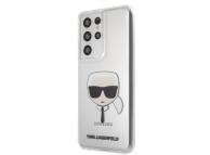 Husa Plastic - TPU Karl Lagerfeld Head pentru Samsung Galaxy S21 Ultra 5G, Transparenta, Blister KLHCS21LKTR
