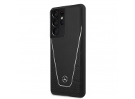 Husa Piele MERCEDES Dynamic Leather pentru Samsung Galaxy S21 Ultra 5G, Neagra, Blister MEHCS21LCLSSI