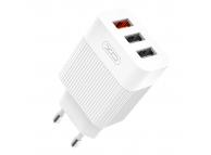Incarcator Retea USB XO Design L72, 3 x USB, Quick Charge, 18W, Alb