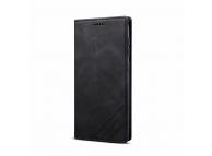 Husa Piele OEM Skin Feel Magnetic pentru Samsung Galaxy A20e, cu suport carduri, Neagra