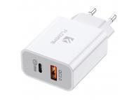Incarcator Retea USB Floveme Travel, 2 X USB, Quick Charge, 18W, Alb