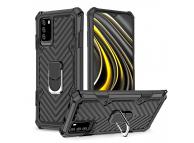 Husa Plastic - TPU OEM Ring Cool Armor Kickstand pentru Xiaomi Poco M3 / Xiaomi Redmi Note 9 4G, Neagra