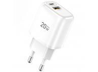 Incarcator Retea USB Totu Design CACQ-012, 1 X USB - 1 X USB Tip-C, Quick Charge, 20W, Alb