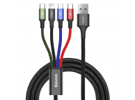 Cablu Date si Incarcare USB - Lightning / USB Type-C / 2xMicroUSB Baseus, 1.2 m, 3.5A, Negru, Blister CA1T4-C01