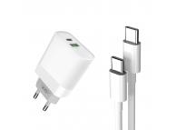 Incarcator Retea cu cablu USB Tip-C XO Design L64, 1 X USB - 1 X USB Tip-C, Quick Charge, 18W, Alb