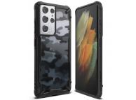 Husa Plastic - TPU Ringke Fusion X Design Camo pentru Samsung Galaxy S21 Ultra 5G, Neagra XDSG0046