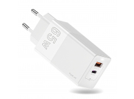 Incarcator Retea USB KUULAA GaN KL-CD14, 1 X USB - 1 X USB Tip-C, Quick Charge, 65W, Alb, Blister