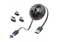 Cablu Incarcare USB - Lightning / USB Type-C / MicroUSB KUULAA KL-O138, 1 m, Magnetic Retractabil, 3A, Negru