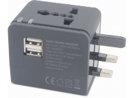 Adaptor Priza Xqisit Travel, EU - UK - USA - AUS, 2 X USB, Negru, Blister