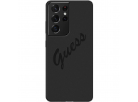 Husa TPU Guess Silicone Vintage Script pentru Samsung Galaxy S21 Ultra 5G, Neagra GUHCS21LLSVSBK
