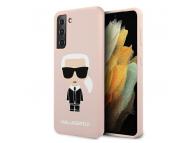 Husa TPU Karl Lagerfeld Iconik Full Body pentru Samsung Galaxy S21+ 5G, Roz KLHCS21MSLFKPI