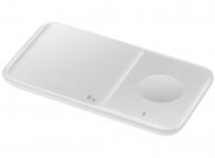 Incarcator Retea Wireless Samsung Duo EP-P4300, Pentru Telefon / Ceas / Casti QI, Fast Wireless, 9W, Varianta cu Incarcator Priza, Alb, Resigilat