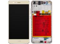 Display - Touchscreen Huawei P10 Lite, Cu Rama, Acumulator si piese, Auriu 02351FSN