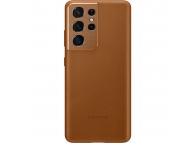 Husa Telefon Samsung Galaxy S21 Ultra 5G, Leather Cover, EF-VG998LA, Maro, Resigilat