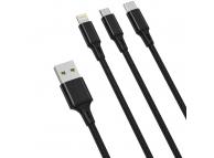 Cablu Incarcare USB - Lightning / USB Type-C / MicroUSB XO Design NB173, 1.2 m, 3in1, 2.4A, Negru