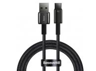Cablu Date si Incarcare USB la USB Type-C Baseus Tungsten, 1 m, 66W, Quick Charge AFC FCP SCP, Negru CATWJ-B01